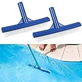 Schwimmbad Bürste Poolbürste 2 Stück Kunststoff Pool Reinigungsbürste Beckenbürste Poolbürstenkopf für Poolwand und Poolboden, Blau