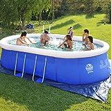 ZHKGANG Runder Swimmingpool Nach Hause Erwachsene Kinder Dicke Große Ovale Planschbecken Wasserpark Kinder Familie Aufblasbaren Pool,Blue-265 * 180 * 76cm