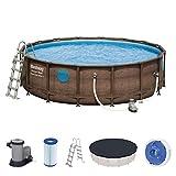 Bestway Power Steel Swim Vista Framepool Komplett-Set, rund, mit Filterpumpe, Sicherheitsleiter & Abdeckplane 488 cm x 122 cm