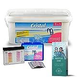 POOL Total Spar-Set Cristal Aktivsauerstoff Komplettpflege 2,24 kg für eine chlorfreie Poolpflege, Wassertester Sauerstoff- u. pH-Wert Pflegebroschüre