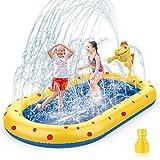 AOLUXLM Splash Pad & Pool Wassersprinkler Wasserspiel Garten Outdoor Sprinkler Wasserspielzeug für Kinder ab 3 Jahre Alt im Draußen 170x105CM Gartensprenger Wassermatte Dinosaurier Wasserspaß
