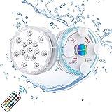 Chakev Unterwasser Licht IP68 Pool Beleuchtungen Farbwechsel Poollicht Garten Licht mit Magnet Saugnapf RF-Fernbedienung für Teich Whirlpool Badewanne Festival Dekoration, 2 Stück