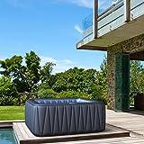 Whirlpool MSpa aufblasbar für 6 Personen SPA 185x185cm In-Outdoor Pool 132 Massagedüsen Timer Heizung Aufblasfunktion per Knopfdruck TÜV geprüft Bubble Spa Wellness Massage